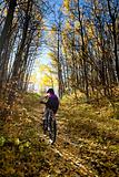 Woman mountain biking in autumn
