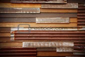 old wood wall with zinc sheet