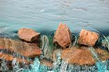 Red rocks blue water
