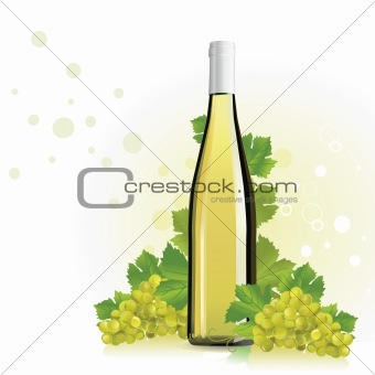 Wine, champagne bottle with grapes
