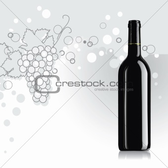 Realistic vector bottle of wine with grape