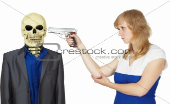 Woman wins death isolated on white
