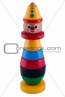 Baby wooden stacking clown isolated on white background