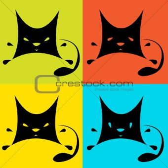 Cats on multicolored  background.