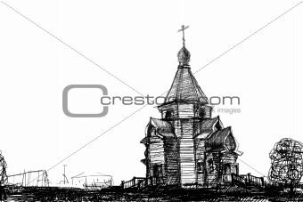sketch wooden church