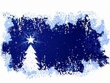Winter grunge background with christmas tree and star