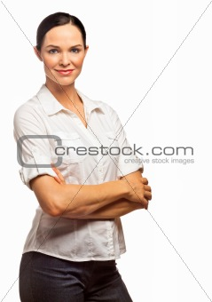 Portrait of a young beautiful business woman. Isolated over whit