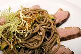 Dish with spaghetti