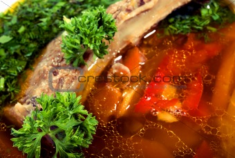 appetizing hot soup in a soup-plate