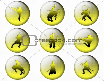 Bright buttons With silhouettes of soldiers