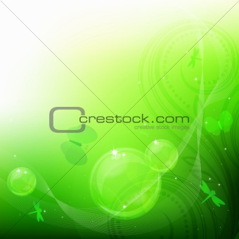 Green bubbles background.