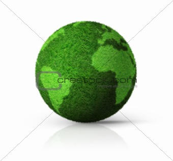 3D green grass globe