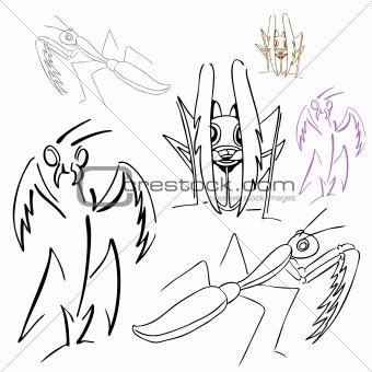 Praying Mantis Drawings