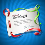 greetings card for holiday with ribbon