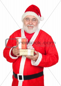 Smiley Santa Claus with two gifts