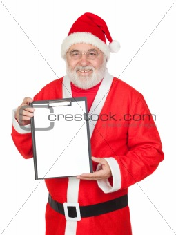 Smiley Santa Claus with a blank clipboard