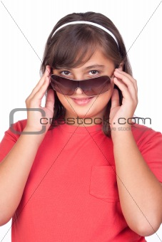 Adorable preteen girl with sunglasses