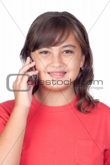 Adorable preteen girl with a mobile