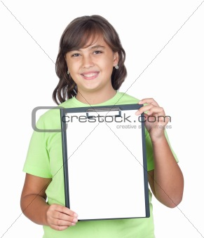 Adorable preteen girl with a blank clipboard