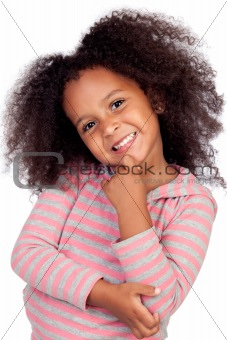 Pensive african little girl with beautiful hairstyle