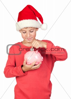 Adorable child saving with Santa Hat