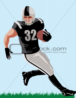 Illustration of an American footballer with ball