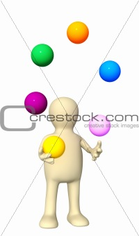 Puppet, juggling with balls