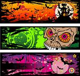 Halloween Grunge Style Banners With Horror Elements