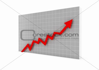 3d graph arrow red high