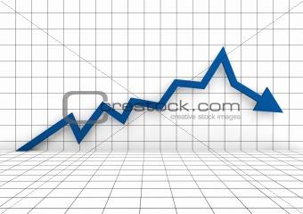 3d graph arrow blue down