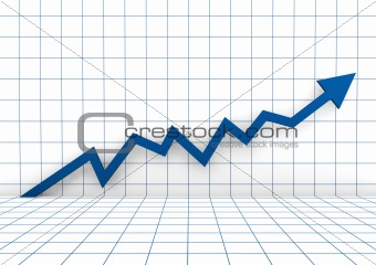 3d graph wall arrow blue high