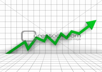 3d graph wall arrow green high