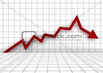 3d graph arrow red down