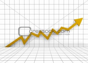 3d graph wall arrow gold yellow high
