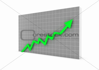 3d graph arrow green high