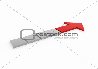 3d red gray arrow high right