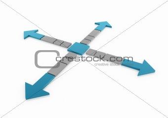 3d light blue gray arrows