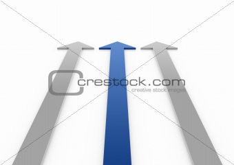 3d blue arrows high