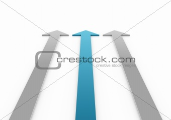3d light blue gray arrow high