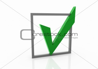 3d green check box