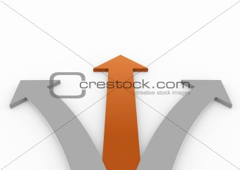 3d orange gray arrow high right lef