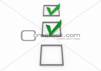 3d green gray check box with pen