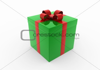 3d green red gift box