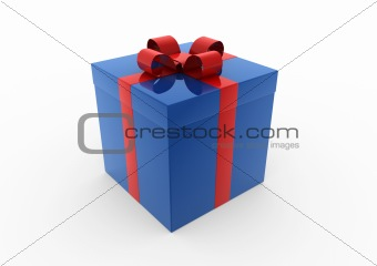 3d blue red gift box