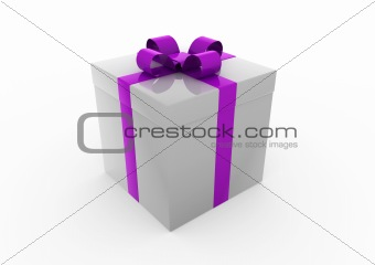 3d gray purple gift box