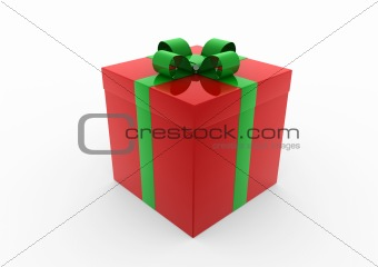 3d red green gift box