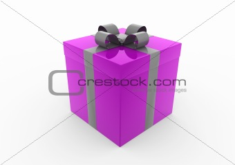 3d purple gray gift box