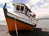 Fisher boat moored