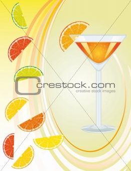 Background with a cocktail