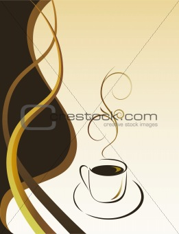 A cup of hot black coffee